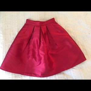 Red Satin Chic-Wish High-Waisted, Pleated Skirt